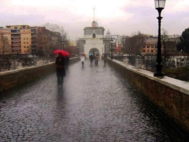 ponte milvio pioggia