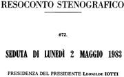 Via Mastrigli -Camera dei Deputati seduta del 2 maggio 1983