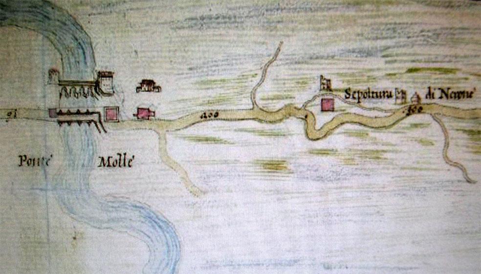 La Tomba di Nerone dal Catasto di Alessandro VII, 1660