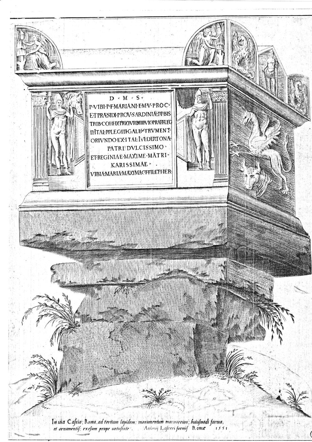 """Roma ad terzium lapidem: monumentum marmoreum"""",incisione di A. Lafrery, 1551."""