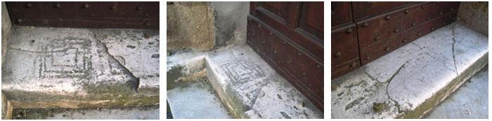 Triplice cinta in tre esemplari affiancati sulla soglia del portone di accesso al Castello di Magliano Romano (RM)