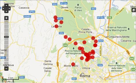 Mappa segnalazioni Roma Nord