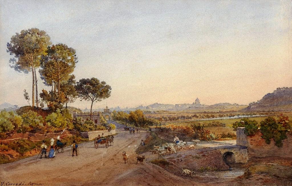 Salomon Corrodi, La via Cassia a ponte Milvio