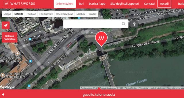 What3Words Ponte Milvio 640x342 What3words le coordinate GPS in 3 parole