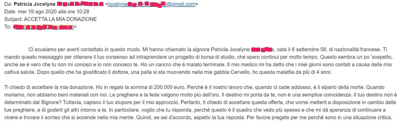esempio truffa donazione